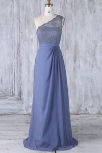 Lace Illusion One-Shoulder Long Solid Sheath Chiffon Bridesmaid Dress With Lace Bodice