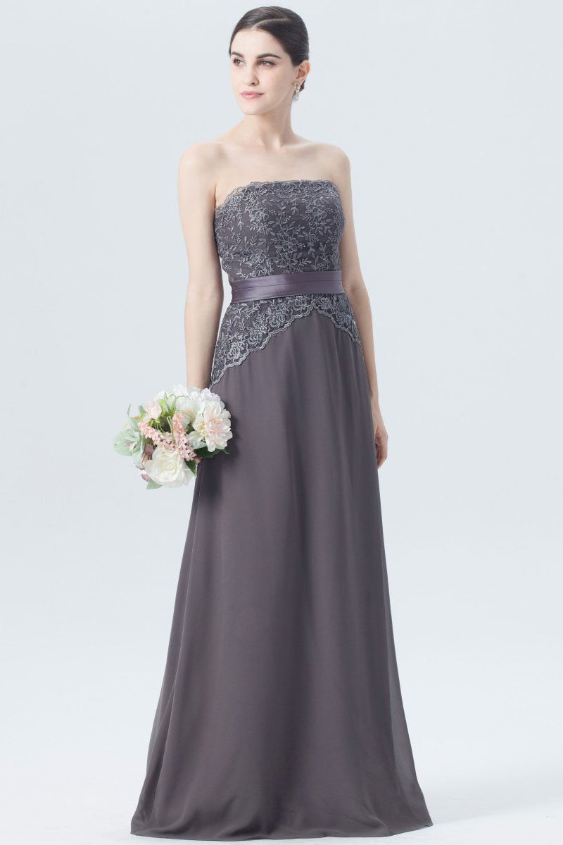 919e8a973e38 Elegant Lace Strapless Sleeveless Long Solid Chiffon Bridesmaid Dress with  Belt