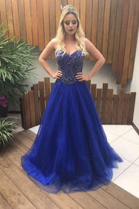 Royal Blue Beading Sweetheart Sleeveless Lace-Up Long Solid A-Line Tulle Evening Dress