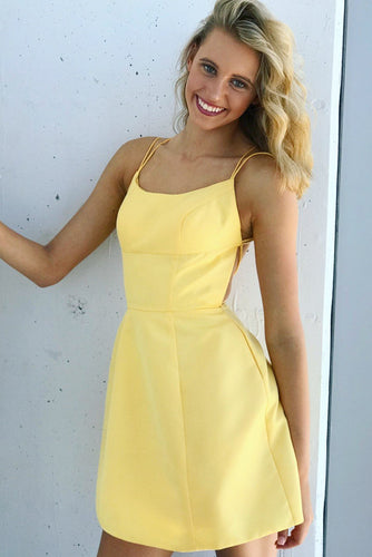 Sexy Spaghetti Straps Sleeveless Lace-Up Short Solid Yellow A-Line Satin Cocktail Dress