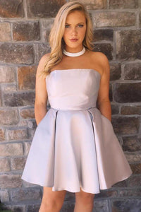 Chic Strapless Sleeveless Short Solid Satin A-Line Cocktail Dress with Double Pockets