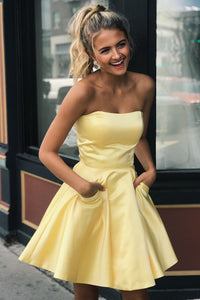 Cute Strapless Sleeveless Short Solid Satin Yellow A-Line Cocktail Dress with Pockets