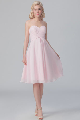 Sweetheart Strapless Knee-Length Ruched Chiffon Bridesmaid Dress