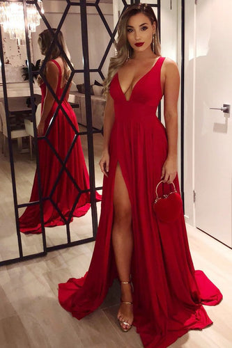 Empire Waist Deep V-Neck Red Jersey Sweep Train Prom Dress With Thigh Split