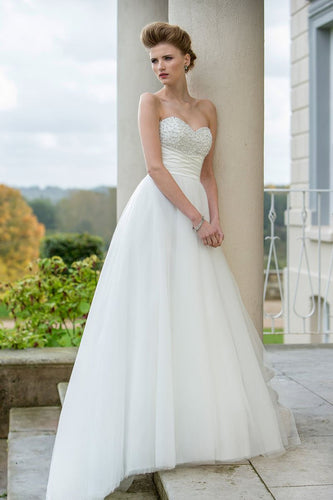 Empire Waist Sweetheart Strapless Chiffon Tulle Wedding Dress With Beaded Bodice