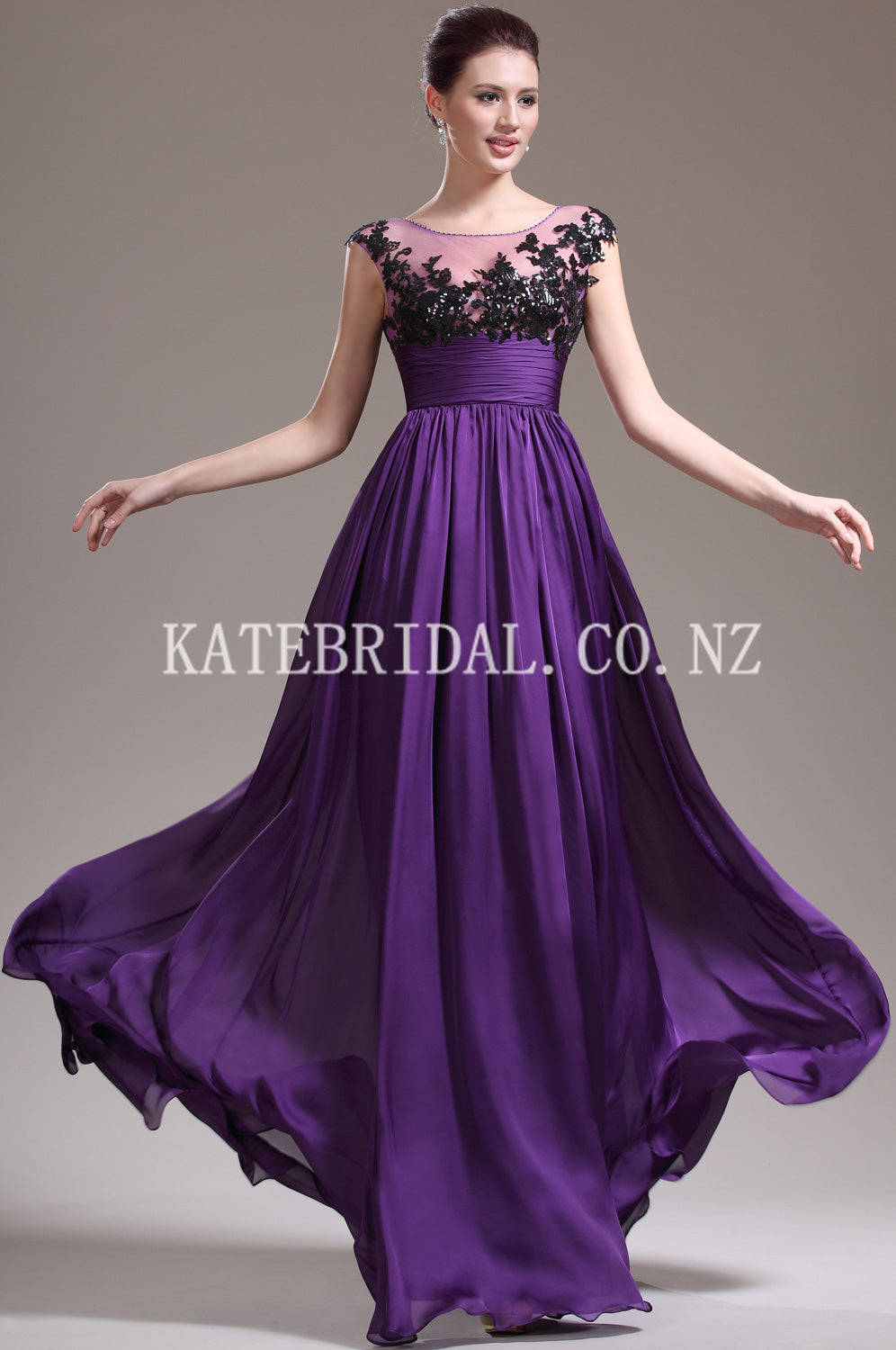 Appliqued Illusion Scoop Neck Cap Sleeves Floor-Length Chiffon Evening Dress