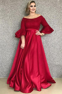 Flutter Sleeve Off-The-Shoulder Empire Waist A-Line Floor-Length Satin Prom Dress