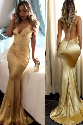 Gold Spaghetti Strap Low V-Neck Backless Elastic Woven Satin Long Prom Dress With Ruching