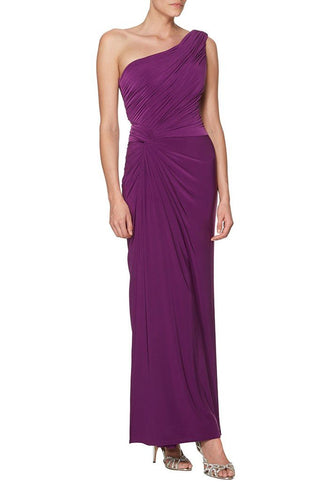 Chiffon One-Shoulder Ankle-Length Ruched Sheath Bridesmaid Dress