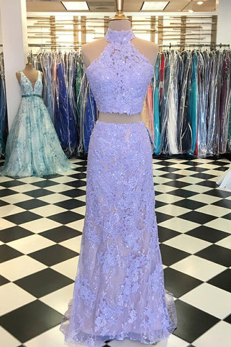 Halter Backless Two-Piece Lace Mermaid Prom Dress With Sequins
