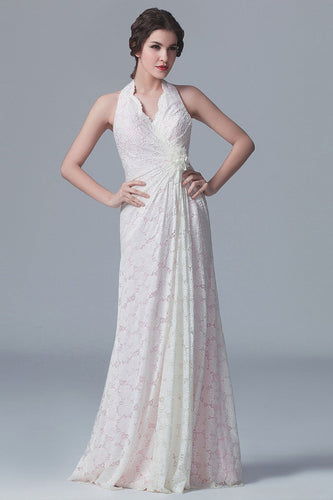 Lace Halter V-Neck Sleeveless Backless Long Sheath Bridesmaid Dress With Handmade Flower