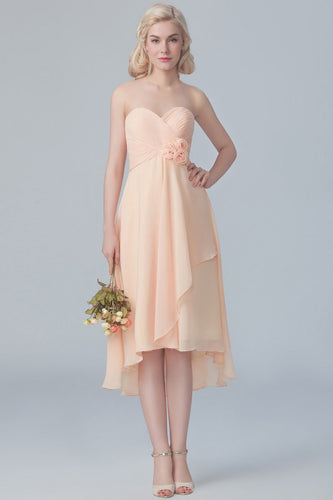 Strapless Sweetheart High-Low Ruched Chiffon Bridesmaid Dress With Handmade Flower