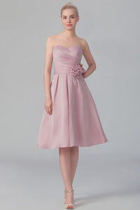 Sweetheart Strapless Knee-Length Satin Bridesmaid Dress With Handmade Flower