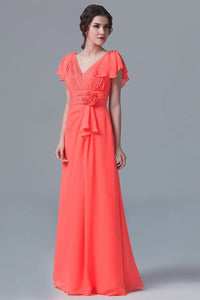 V-Neck Short Sleeve Floor-Length Ruched Chiffon Bridesmaid Dress With Handmade Flower