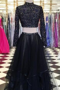 High Neck Long Sleeve Two-Piece Floor-Length Tulle Prom Dress With Beads