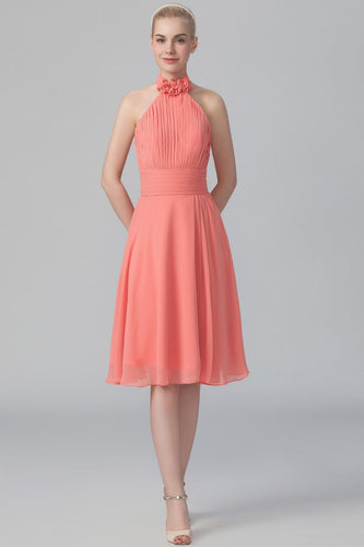 Halter Sleeveless Backless Knee-Length Ruched Chiffon Bridesmaid Dress