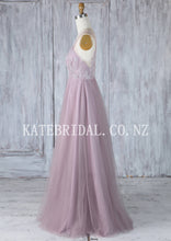 V-Neck Floor-Length Beaded Tulle Bridesmaid Dress With Lace Applique