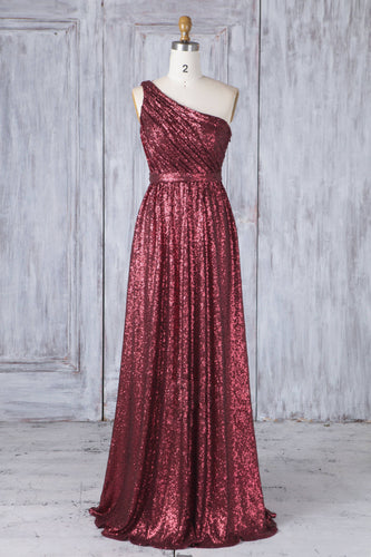 Burgundy Sequin One-Shoulder Sleeveless Long Ruched Bridesmaid Dress With Lace