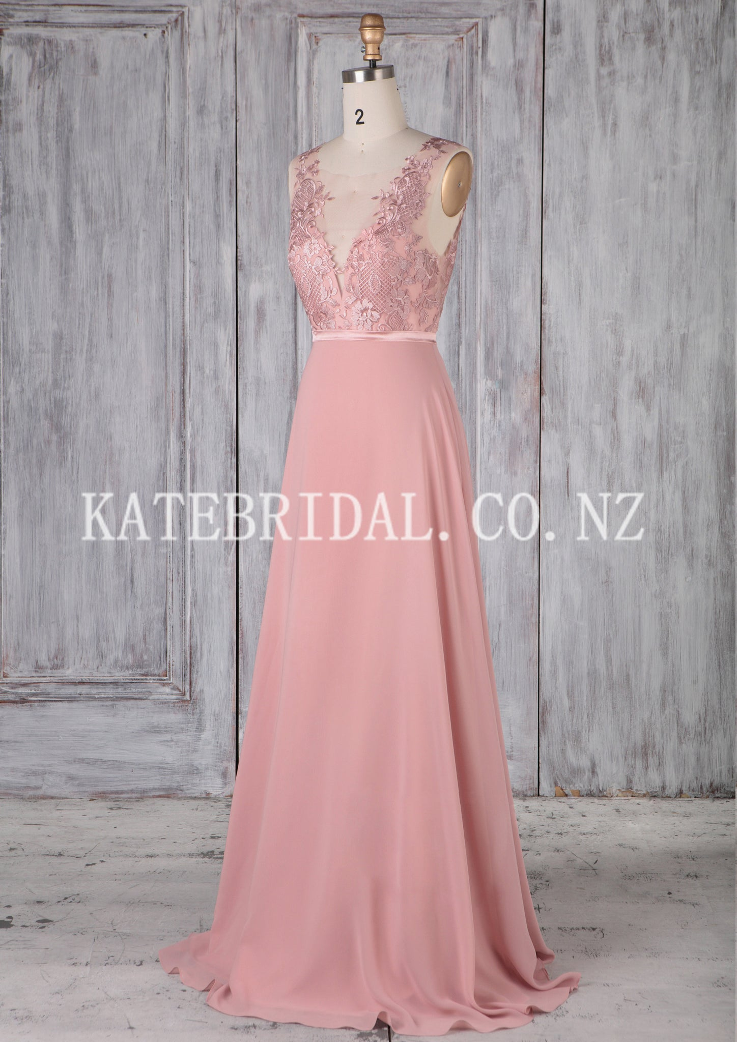 Sheer Neck Brush Train Chiffon Bridesmaid Dress With Delicate Applique