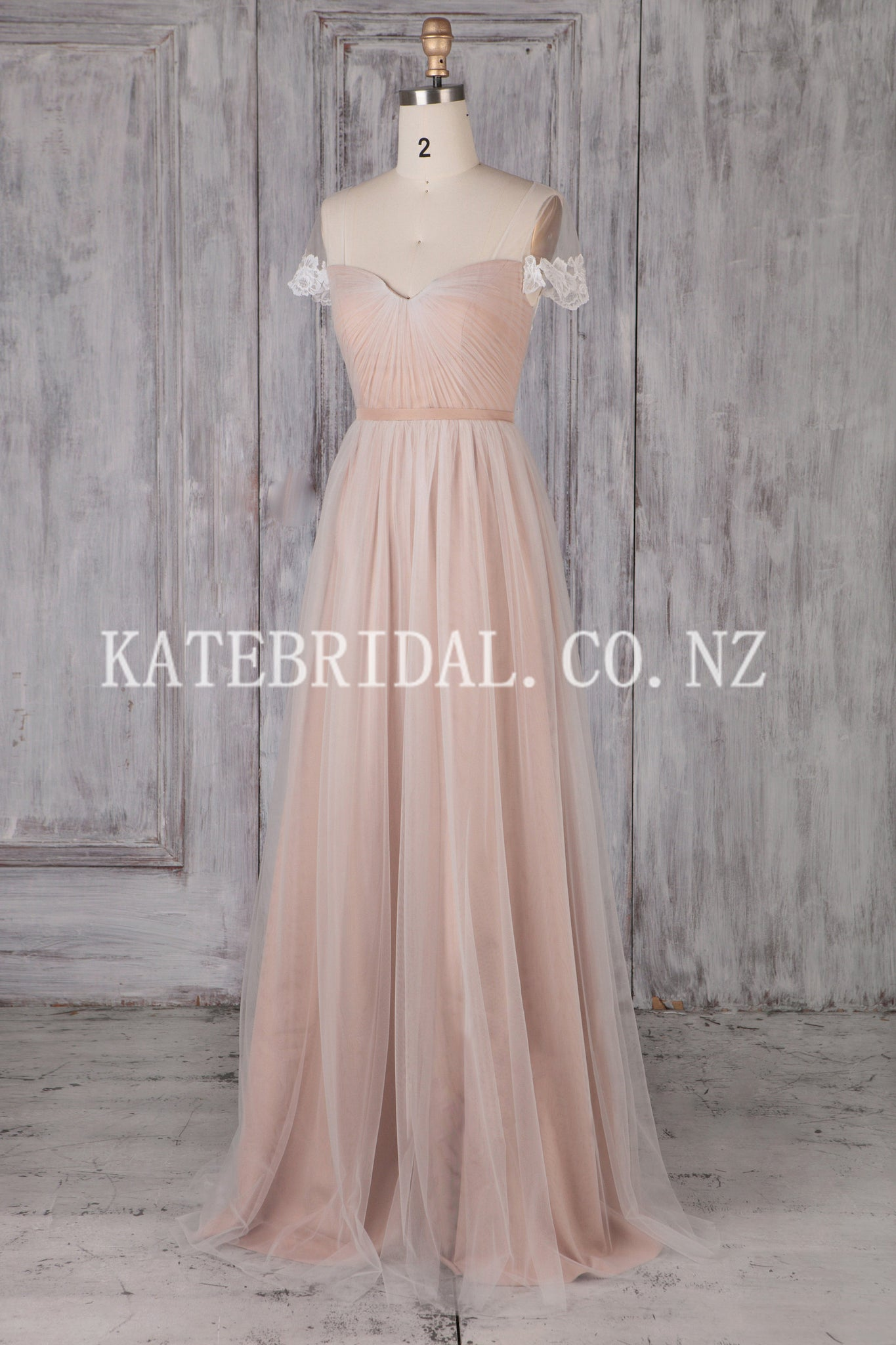 Appliqued Short Sleeve Sweetheart Floor-Length Illusion Tulle Bridesmaid Dress With Ribbon
