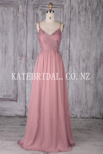 Appliqued Chiffon Spaghetti Strap V-Neck Long Bridesmaid Dress With Ruched Bodice