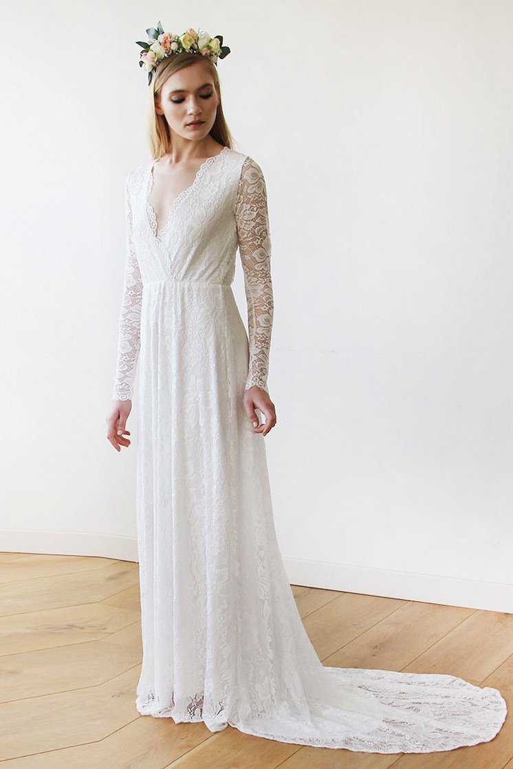 d619ca9b8b7 Illusion Long Sleeve V-Neck A-Line Floral Lace Wedding Dress With Court  Train