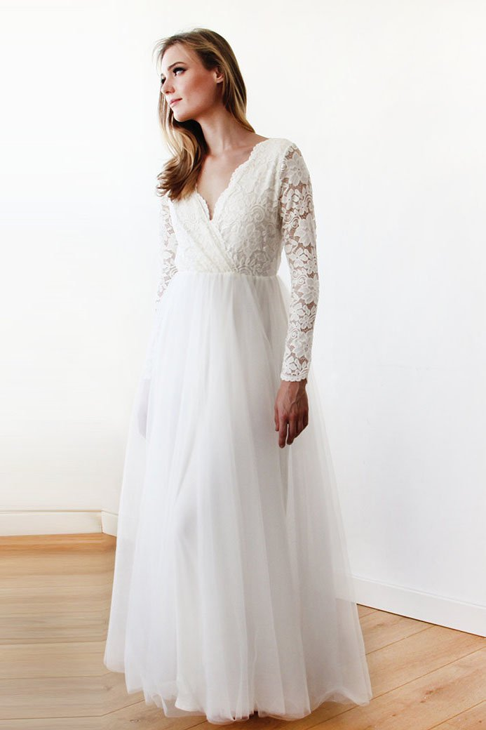 2c9a221bf6d Illusion Long Sleeve V-Neck Floor-Length Tulle Bridal Dress With Floral Lace  Bodice