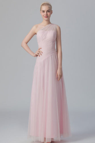 Illusion One-Shoulder Ankle-Length Tulle Bridesmaid Dress With Ruching