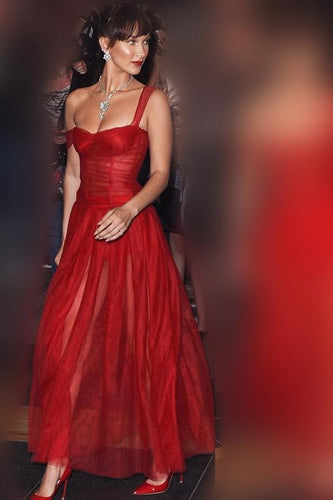 Sexy Illusion Straps Sleeveless Ankle-Length Red Ruched Organza Prom Dress