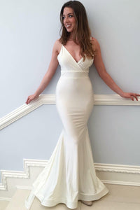 Ivory Elastic Woven Satin Spaghetti Strap Mermaid Formal Evening Dress