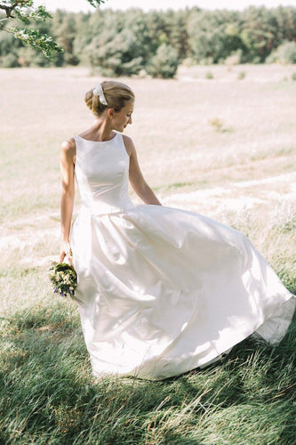Ivory Satin Jewel Neck A-Line Court Train Bridal Dress