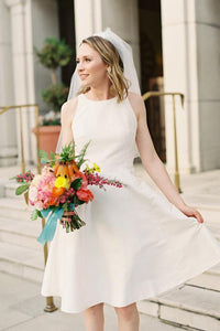 Ivory Satin Jewel Neck A-Line Short Wedding Dress