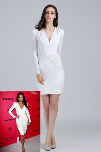 Jersey Long Sleeve V-Neck Sheath Mini Celebrity Dress