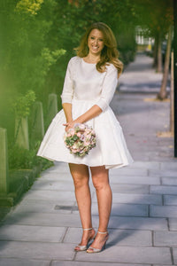 1/2 Sleeve Jewel Neck A-Line Short Satin Bridal Dress