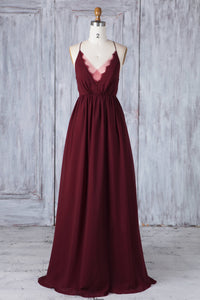 Burgundy Chiffon Spaghetti Strap V-Neck Brush Train Bridesmaid Dress With Lace