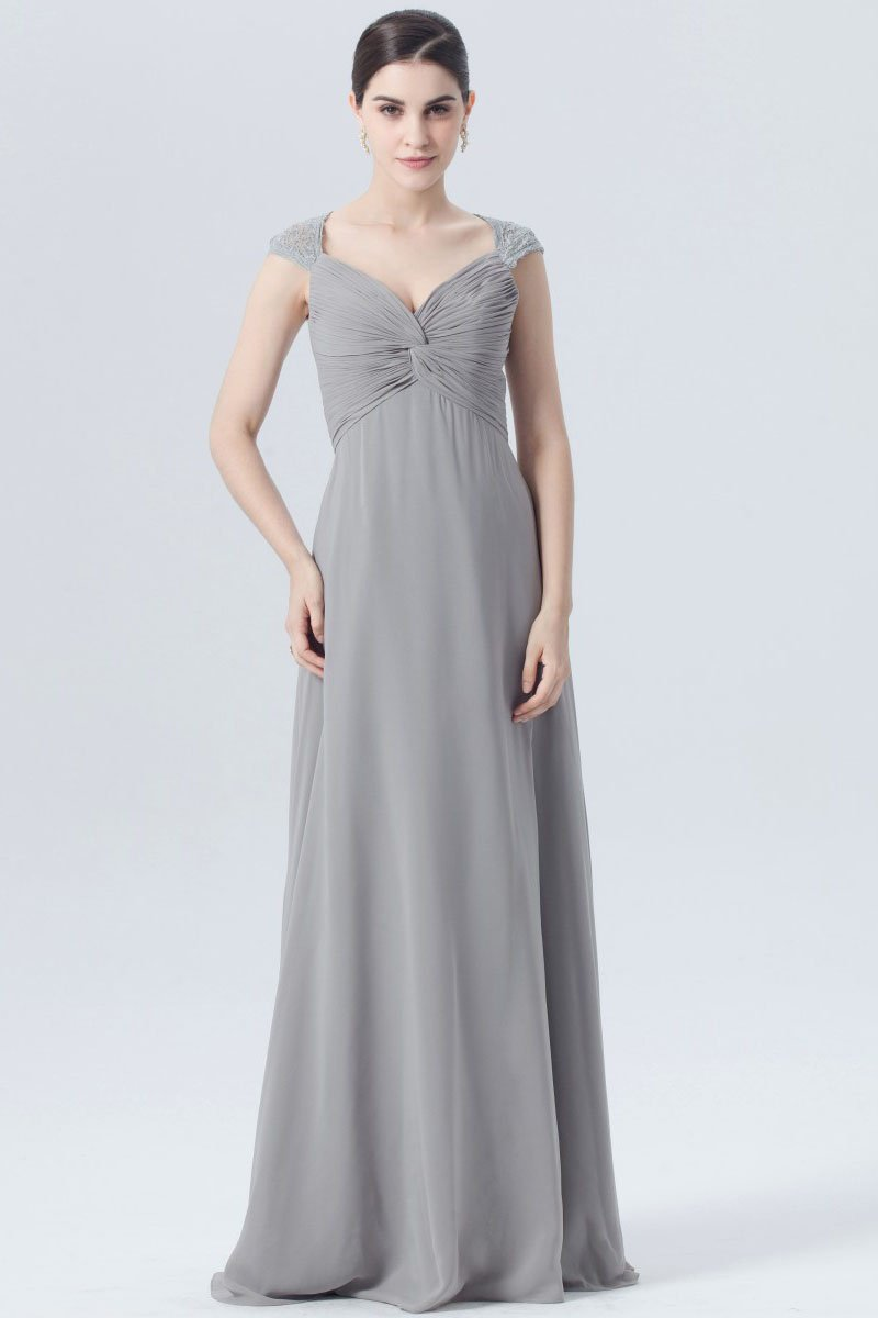 1a6d6987a20 V-Neck Cap Sleeve Long Ruched Chiffon Bridesmaid Dress With Lace ...
