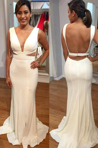 Chic Key-Hole Plunge Neck Sleeveless Backless Long Solid Slit Sheath Evening Dress