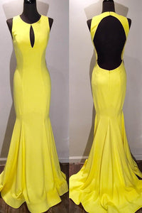 Elegant Key-Hole Scoop Neck Sleeveless Open Back Long Solid Mermaid Evening Dress