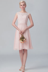 Lace Bateau Neck Cap Sleeve Knee-Length Solid Chiffon Bridesmaid Dress