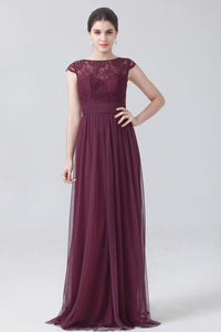 Lace Illusion Bateau Neck Cap Sleeve Long Solid Pleated Tulle Bridesmaid Dress