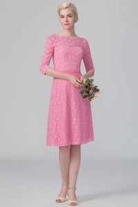 Lace Bateau Neck 1/2 Sleeve Knee-Length Solid Bridesmaid Dress
