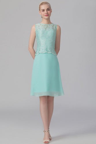 Lace Bateau Neck Sleeveless Short Solid Sheath Chiffon Bridesmaid Dress