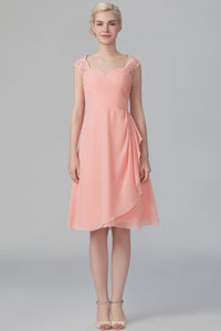 Sweetheart Cap Sleeve Keyhole Back Knee-Length Chiffon Bridesmaid Dress With Lace