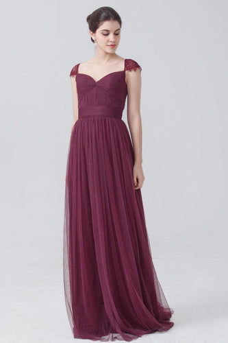 Graceful Cap Sleeve Keyhole Back Long Ruched Tulle Bridesmaid Dress With Lace