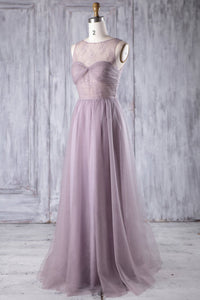 Lace Illusion Bateau Neck Sleeveless Long Solid Tulle Bridesmaid Dress