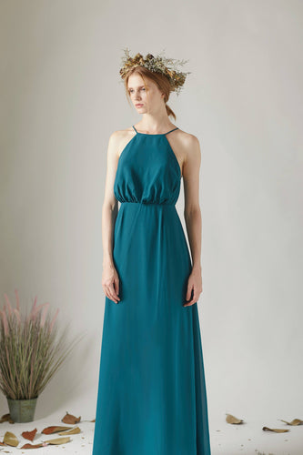 Lace Illusion Spaghetti Strap Open Back Long Solid Sheath Bridesmaid Dress