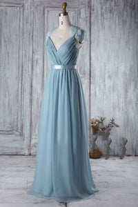 Lace Illusion V-Neck Cap Sleeve Long Solid Ruched Chiffon Bridesmaid Dress With Lace