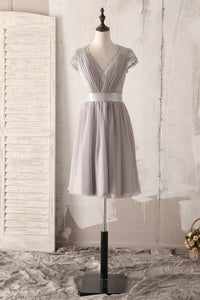 V-Neck Cap Sleeve Short Solid Ruched Chiffon Bridesmaid Dress With Lace