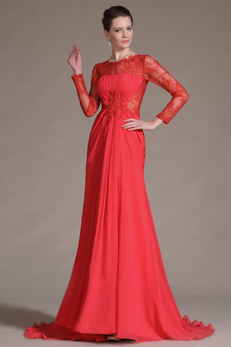 Lace Illusion Scalloped Edge Neck Long Sleeves Zipper-Up Long Solid Chiffon Evening Dress