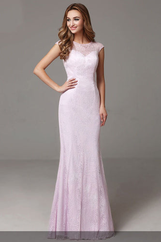 Chic Lace Illusion Scoop Neck Cap Sleeves Zipper-Up Long Solid Mermaid Evening Dress